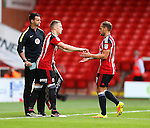 Caolan Lavery of Sheffield Utd comes on for Billy Sharp of Sheffield Utd during the League One match at Bramall Lane Stadium, Sheffield. Picture date: September 17th, 2016. Pic Simon Bellis/Sportimage