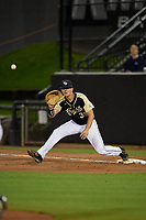 UCF Knights first baseman Connor Allen (39) stretches for a throw during a game against the Siena Saints on February 14, 2020 at John Euliano Park in Orlando, Florida.  UCF defeated Siena 2-1.  (Mike Janes/Four Seam Images)