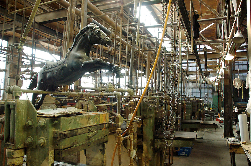 A carnival merry-go-round horse at a west end Toronto factory undergoing closure and site redevelopment