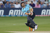 Luke Wright of Sussex gets in a tangle with a Graham Napier delivery - Essex Eagles vs Sussex Sharks - Friends Life T20 Cricket at the Ford County Ground, Chelmsford, Essex - 28/06/12 - MANDATORY CREDIT: Gavin Ellis/TGSPHOTO - Self billing applies where appropriate - 0845 094 6026 - contact@tgsphoto.co.uk - NO UNPAID USE.
