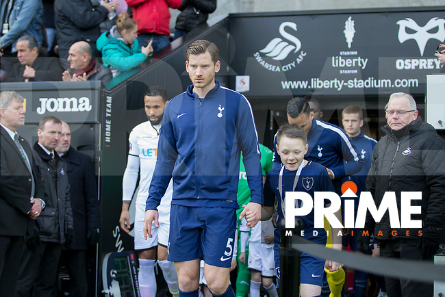 Jan Vertonghen of Tottenham Hotspur leads out his side for the FA Cup Quarter Final match between Swansea City and Tottenham Hotspur at the Liberty Stadium, Swansea, Wales on 17 March 2018. Photo by Mark  Hawkins / PRiME Media Images.