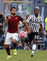 Calcio, Serie A: Roma vs Juventus. Roma, stadio Olimpico, 30 agosto 2015.<br /> Roma&rsquo;s Mohamed Salah, left, is chased by Juventus&rsquo; Patrice Evra during the Italian Serie A football match between Roma and Juventus at Rome's Olympic stadium, 30 August 2015.<br /> UPDATE IMAGES PRESS/Riccardo De Luca