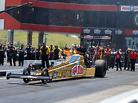 Jun 18, 2017; Bristol, TN, USA; NHRA top fuel driver Leah Pritchett during the Thunder Valley Nationals at Bristol Dragway. Mandatory Credit: Mark J. Rebilas-USA TODAY Sports
