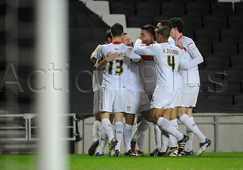 20.03.2012 Milton Keynes, England. Milton Keynes Dons v Leyton Orient.  MK Dons open the scoring in the second minute during the  NPower League 1 game played at Stadium MK.