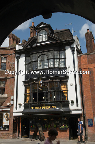 Guildford High Street the Three Pigeons Public House. Surrey Uk.