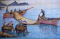 Europe/Italie/Côte Amalfitaine/Campagnie/Amalfi : Céramique représentant des pêcheurs sur les murs d'une poissonnerie