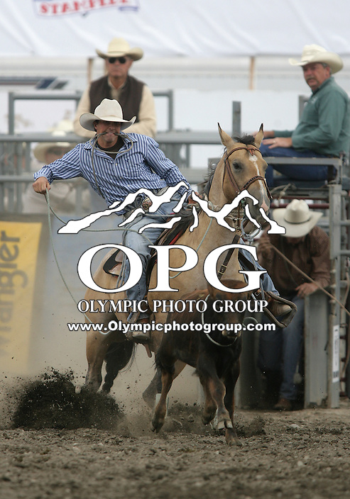 27 Aug 2010: Chad Finley scored a time of 23.6 in the Tie Down Roping competition at the Kitsap County Stampede Wrangle Million Dollar PRCA Silver Rodeo Tour Bremerton, Washington.