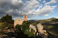 Romanesque church of Santa Maria de Siurana, 12th century, Cornudella de Montsant, Priorat, Tarragona, Spain. The village and the church are perched upon a cliff above the waters of the Siurana river. Picture by Manuel Cohen