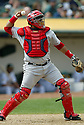 Jose Molina, of the Los Angeles Angels, in action against the Oakland A's during their game on April 22, 2006...Angels win 5-4..Rob Holt / SportPics