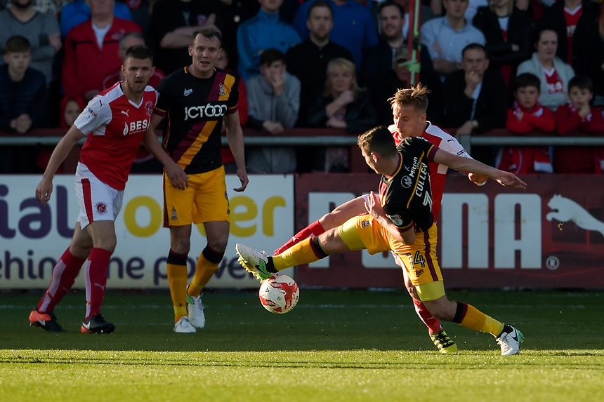 Bradford City's Josh Cullen battles with Fleetwood Town's George Glendon<br /> <br /> Photographer Terry Donnelly/CameraSport<br /> <br /> The EFL Sky Bet League One Play-Off Second Leg - Fleetwood Town v Bradford City - Sunday 7th May 2017 - Highbury Stadium - Fleetwood<br /> <br /> World Copyright &copy; 2017 CameraSport. All rights reserved. 43 Linden Ave. Countesthorpe. Leicester. England. LE8 5PG - Tel: +44 (0) 116 277 4147 - admin@camerasport.com - www.camerasport.com