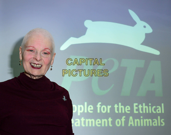 LONDON, ENGLAND - MARCH 18: Dame Vivienne Westwood debuts her one minute campaign video highlighting&nbsp;the waste of water within the meat industry alongside PETA senior vice president Dan Mathews at Tibits, 12-14 Heddon Street, on March 18, 2014, in London, England.  <br /> CAP/JOR<br /> &copy;Nils Jorgensen/Capital Pictures