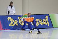 SCHAATSEN: SALT LAKE CITY: Utah Olympic Oval, 15-11-2013, Essent ISU World Cup, 3000m, Gerard Kemkers (trainer/coach TVM Schaatsploeg), Antoinette de Jong (NED), <br /> &copy;foto Martin de Jong