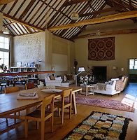 The vast barn has been converted into an open-plan living and dining room
