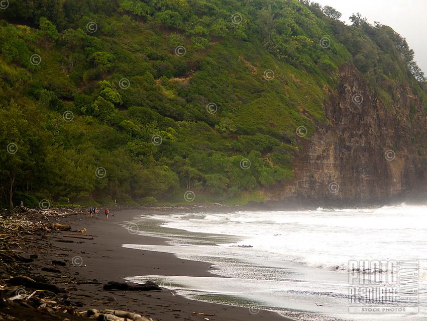 A group of hikers walk across the black sand beach of Pololu Valley, Big Island.