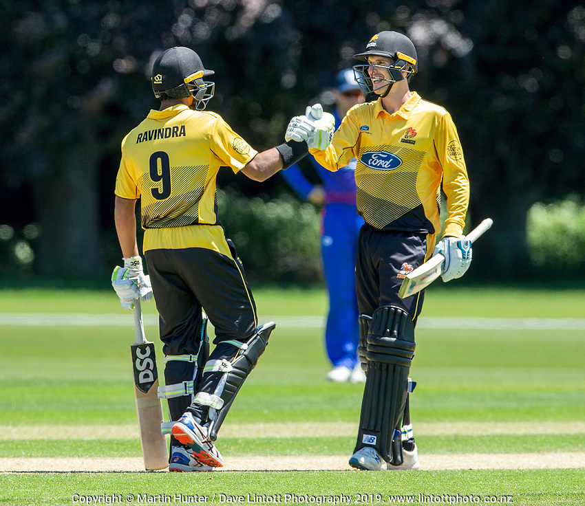 Andrew Fletcher and Rachin Ravindra of Wellington. Wellington Firebirds v Auckland Aces Ford Trophy One Day Match Round Three at Lincoln No.3 in Lincoln, New Zealand on Monday, 25 November 2019. Photo: Martin Hunter / lintottphoto.co.nz