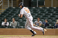 Surprise Saguaros outfielder Henry Urrutia (50), of the Baltimore Orioles organization, during an Arizona Fall League game against the Salt River Rafters on October 15, 2013 at Salt River Fields at Talking Stick in Scottsdale, Arizona.  Surprise defeated Salt River 9-2.  (Mike Janes/Four Seam Images)