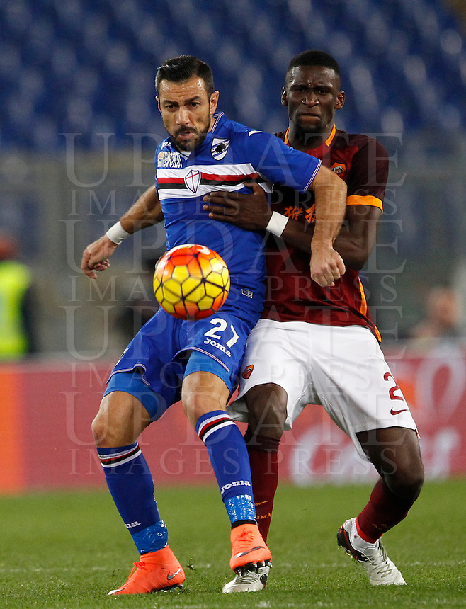 Calcio, Serie A: Roma vs Sampdoria. Roma, stadio Olimpico, 7 febbraio 2016.<br /> Sampdoria&rsquo;s Fabio Quagliarella, left, is challenged by Roma&rsquo;s Antonio Ruediger during the Italian Serie A football match between Roma and Sampdoria at Rome's Olympic stadium, 7 January 2016.<br /> UPDATE IMAGES PRESS/Riccardo De Luca