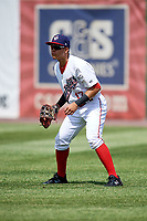 Auburn Doubledays right fielder Ricardo Mendez (17) during a game against the Batavia Muckdogs on June 17, 2018 at Falcon Park in Auburn, New York.  Auburn defeated Batavia 10-8.  (Mike Janes/Four Seam Images)