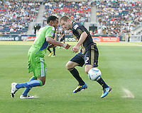 Jordan Harvey #2 of the Philadelphia Union clashes with James Riley #7 of the Seattle Sounders FC during the first MLS match at PPL stadium in Chester, PA. on June 27 2010. Union won 3-2.