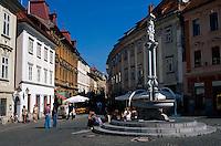 Slowenien. Lubljana, Brunnen am Stari Trg.
