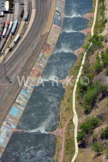 Arkansas River. Kayak park downtown Pueblo, Colorado.  Levee mural.  May 2013.  87540