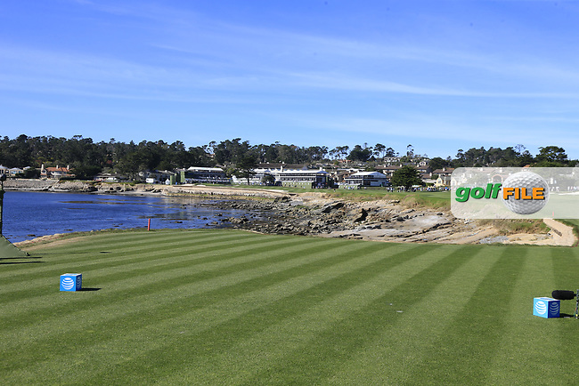 View from the 18th tee at Pebble Beach course during Friday's Round 2 of the 2018 AT&amp;T Pebble Beach Pro-Am, held over 3 courses Pebble Beach, Spyglass Hill and Monterey, California, USA. 9th February 2018.<br /> Picture: Eoin Clarke | Golffile<br /> <br /> <br /> All photos usage must carry mandatory copyright credit (&copy; Golffile | Eoin Clarke)