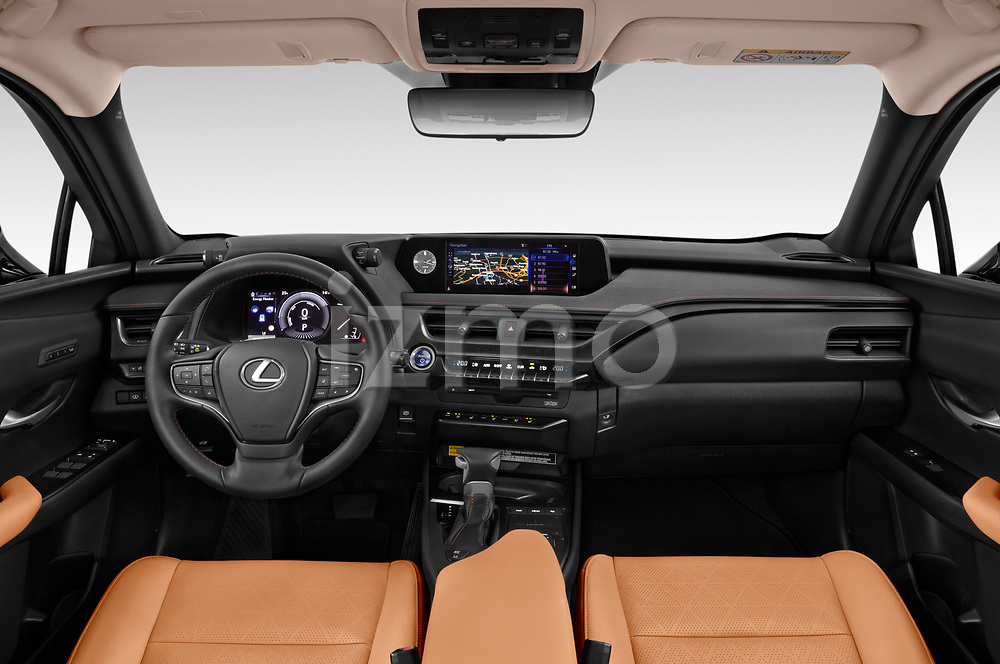 Stock photo of straight dashboard view of a 2019 Lexus UX Privilege-Line 5 Door SUV