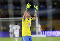 BOGOTA -COLOMBIA. 03-05-2014. Luis Delgado guardameta  de Millonarios  celebra la victoria  contra  La Equidad  partido de vuelta por los Cuartos de Final  de La liga Postobon  disputado en el estadio Nemesio Camacho El Campin. /  Luis Delgado goalkeeper  of Millonarios celebrates his victory   against  of La Equidad  game around the Quarter Finals of the Postobon league match at the Estadio Nemesio Camacho El Campin. Photo: VizzorImage/ Felipe Caicedo / Staff
