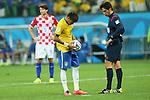 (L to R) <br /> Neymar (BRA), <br /> Yuichi Nishimura (Referee), <br /> JUNE 12, 2014 - Football /Soccer : <br /> 2014 FIFA World Cup Brazil <br /> Group Match -Group A- <br /> between Brazil 3-1 Croatia <br /> at Arena de Sao Paulo, Sao Paulo, Brazil. <br /> (Photo by YUTAKA/AFLO SPORT)