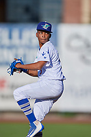 Ogden Raptors starting pitcher Edwin Uceta (15) delivers a pitch to the plate against the Orem Owlz in Pioneer League action at Lindquist Field on June 27, 2017 in Ogden, Utah. Ogden defeated Orem 14-5. (Stephen Smith/Four Seam Images)