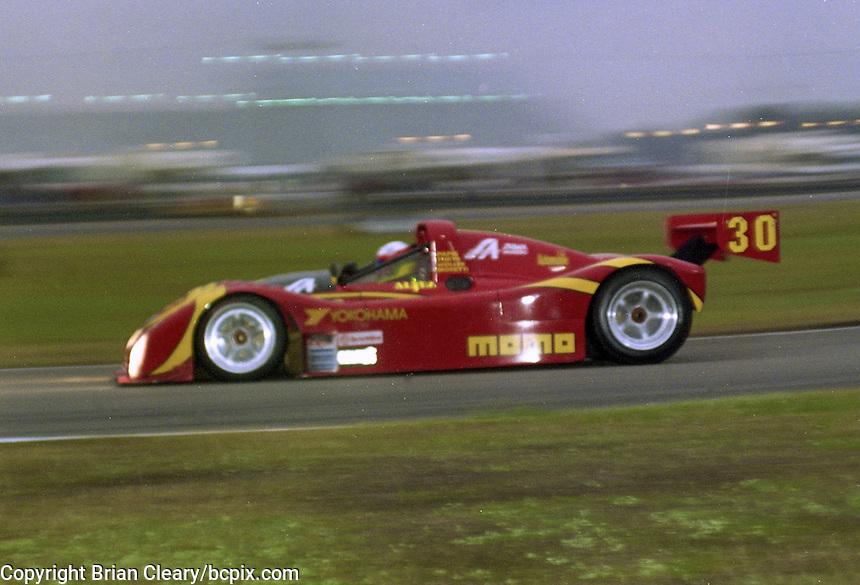 The #30 Ferrari 333 SP of Gianpiero Moretti,  Bob Wollek, Didier Theys and Max Papis races to a second place finish in the 24 Hours of Daytona, IMSA race, Daytona International Speedway, Daytona Beach , FL, February 4, 1996.  (Photo by Brian Cleary/www.bcpix.com)