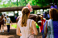 STANTON, DE - JULY 15: Two ladies in the paddock Paddock at Delaware Park on July 15, 2017 in Stanton, Delaware (Photo by Sue Kawczynski/Eclipse Sportswire/Getty Images)