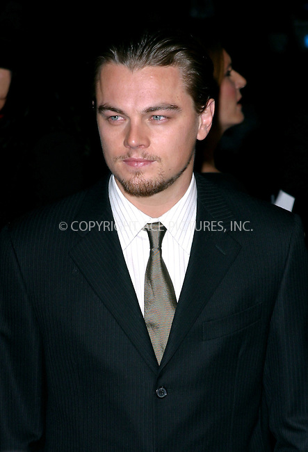 """Leonardo DiCaprio at the premiere of """"Gangs of New York."""" New York, December 9, 2002. Please byline: NY Photo Press. REF: MM_FF190 -- THIS REFERENCE CODE MUST APPEAR ON YOUR SALES REPORT, THANK YOU...*   ..*PAY-PER-USE*      ....NY Photo Press:  ..phone (646) 267-6913;   ..e-mail: info@nyphotopress.com"""
