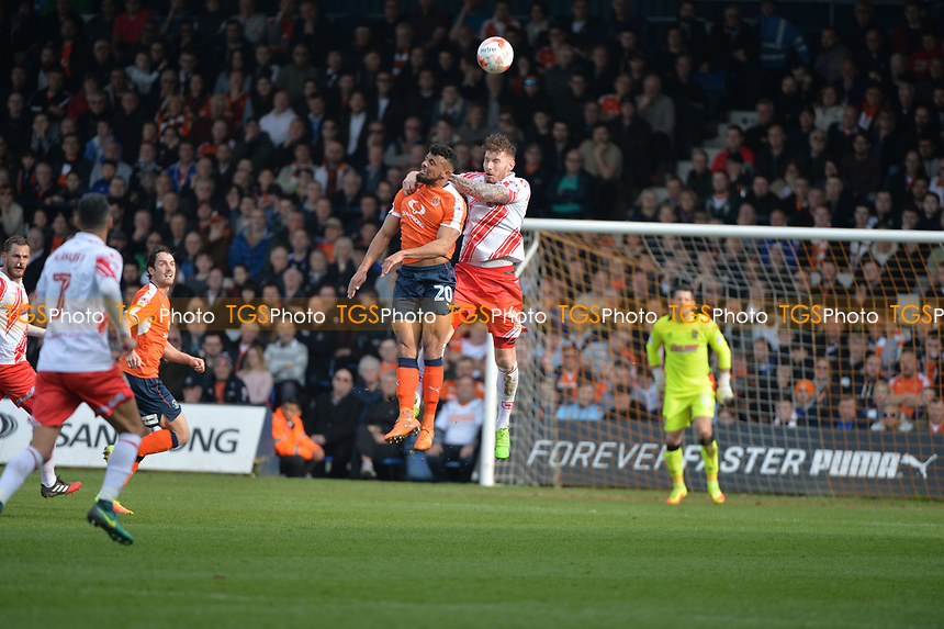 Jack King jumps with Issac Vassell during Luton Town vs Stevenage, Sky Bet EFL League 2 Football at Kenilworth Road on 11th March 2017