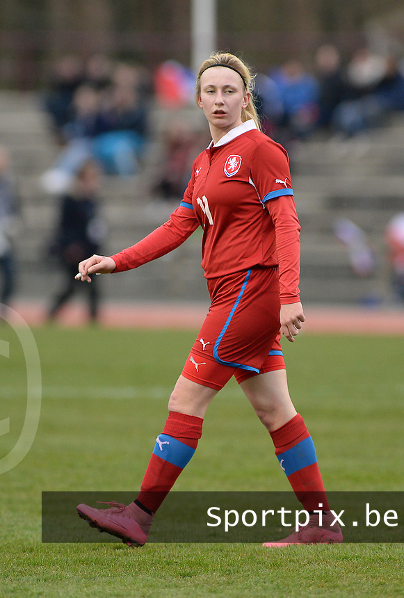 20160319 - FLERS , FRANCE : Czech Katerina Vojtkova pictured during the soccer match between the women under 17 teams of  France and the Czech Republic , on the first matchday in group 3 of the UEFA Women Under17 Elite rounds at Stade du Haze in Flers , France . Saturday 19th March 2016 . PHOTO DAVID CATRY