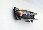 17 December 2010:  Jazmine Fenlator pilots her 2-man bobsled for the USA, finishing 11th for the day at the Viessmann FIBT World Cup Bobsled Championships in Lake Placid, New York, USA. The event was a Make-up Race from the previous week at Park City where the Women's Bobsled had to be cancelled due to severe snow conditions. Mandatory Credit: Ed Wolfstein Photo