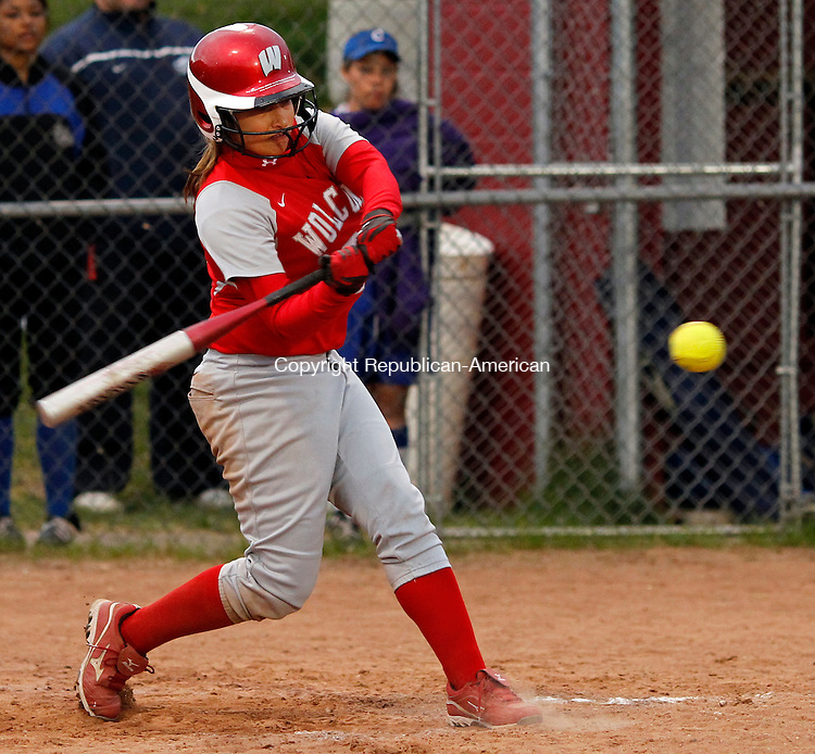 Wolcott, CT-30 April 2012-043012CM13-   Wolcott's Gabby Gallucci cracks a double and drives in two runs in the bottom of the second inning against Crosby's Monday night in Wolcott.  Christopher Massa Republican-American
