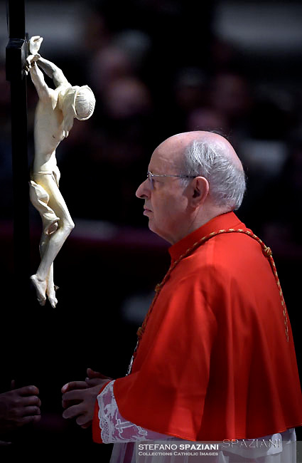 cardinal Lorenzo Baldisseri ,Pope Francis the ceremony of the Good Friday Passion of the Lord Mass in Saint Peter's Basilica at the Vatican.March 30, 2018