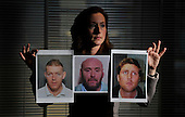 Kate Johnston (National Manager for Crimestoppers Scotland) with images of Scotland's three Most Wanted criminals in Operation Captura - l to r - William Paterson (wanted after a shooting at Asda Robroyston) - Derek Ferguson (wanted in connection with a death in Bishopbriggs) and Andrew Spooner (wanted in connection to drugs offences in Edinburgh) - Operation Captura is the multi-agency campaign which looks to arrest criminals in Spain who are wanted in the UK - Picture by Donald MacLeod - 21.2.11 - 07702 319 738 - www.donald-macleod.com