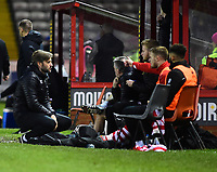 Lincoln City's assistant manager Nicky Cowley gives instructions to the Lincoln City bench<br /> <br /> Photographer Andrew Vaughan/CameraSport<br /> <br /> The Emirates FA Cup Second Round - Lincoln City v Carlisle United - Saturday 1st December 2018 - Sincil Bank - Lincoln<br />  <br /> World Copyright © 2018 CameraSport. All rights reserved. 43 Linden Ave. Countesthorpe. Leicester. England. LE8 5PG - Tel: +44 (0) 116 277 4147 - admin@camerasport.com - www.camerasport.com
