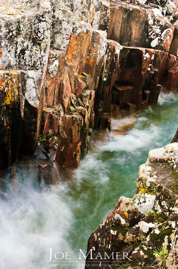 Water rushing through rocky canyon along the North Shore of Lake Superior at Artists Point.