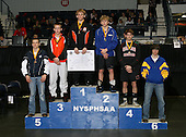 Ian Paddock (1st - Warsaw); Kyle Dake (2nd - Lansing); Matt Metzler (3rd - Slamanca); Andrew Leone (4th - Center Moriches); Trent Johnston (5th - Ripley); Ken Kampnich (6th - Immaculate Heart) pose on the podium for the Division Two 130 weight class during the NY State Wrestling Championship finals at Blue Cross Arena on March 9, 2009 in Rochester, New York.  (Copyright Mike Janes Photography)