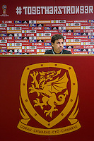Wales manager Chris Coleman during a Wales press conference at the Cardiff City Stadium ahead of the FIFA World Cup Qualification match against Serbia, Cardiff, Wales on 11 November 2016. Photo by Mark  Hawkins.