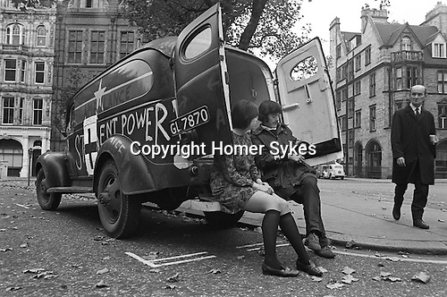 Silent Power demonstrators.  Anti Vietnam War demonstration in  Grosvenor Square outside the American Embassy London 1968 My ref 3 x 1968