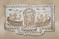 Late 4th century AD Roman mosaic panel of  Venus, Aphrodite, on a boat crowning herself accompanied by six dwarfs. From Cathage, Tunisia.  The Bardo Museum, Tunis, Tunisia.