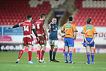 Munster number 8 James Coughlan in discussion with Referee Dudley Phillips.<br /> Celtic League<br /> Scarlets v Munster<br /> <br /> 01.03.14<br /> <br /> ©Steve Pope-SPORTINGWALES