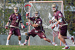 Los Angeles, CA 03/08/10 - Joe Zorvich (FSU # 4), Jack Tanenbaum (FSU # 29) and Ryan Plank (FSU # 10) in action during the Florida State-LMU MCLA interconference men's lacrosse game at Leavey Field (LMU).  Florida State defeated LMU 12-7.