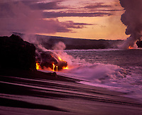 Lava Flowing into Pacific Ocean at Dawn, Volcanoes National Park, Big Island, Hawaii, USA.