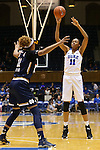 01 February 2016: Duke's Azura Stevens (right) shoots over Notre Dame's Brianna Turner (left). The Duke University Blue Devils hosted the University of Notre Dame Fighting Irish at Cameron Indoor Stadium in Durham, North Carolina in a 2015-16 NCAA Division I Women's Basketball game. Notre Dame won the game 68-61.