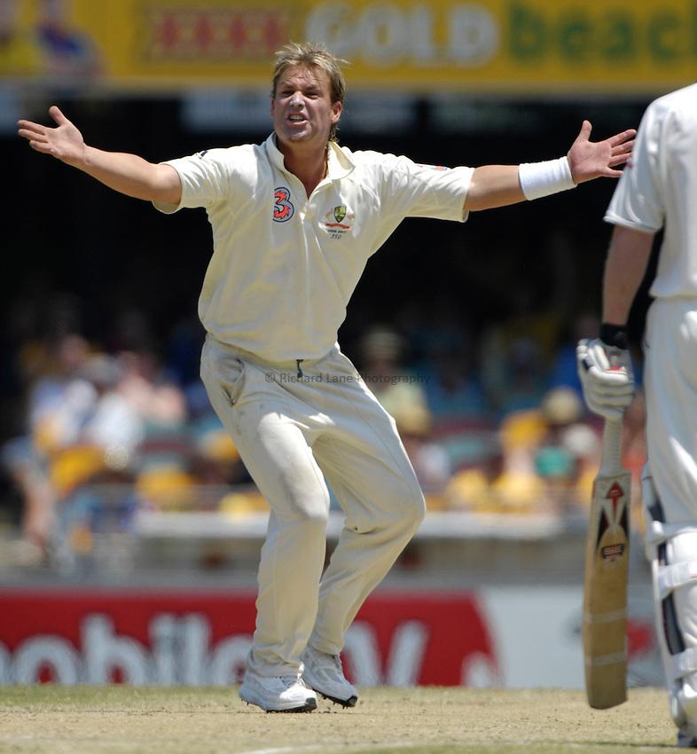 Photo: Steve Holland..Australia v England. 3 mobile Test Series, The Ashes 2006/07, 1st Test. 26/11/2006..Australia's Shane Warne makes an appeal.